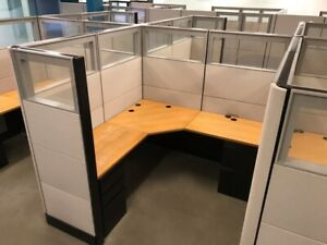 Tall 70 h Herman Miller 6 x6 Office Cubicles Workstations glass