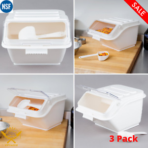 3 Pack 2 6 Gallon Shelf Ingredient Bin Commerical Scoop Kitchen Clear With Lid