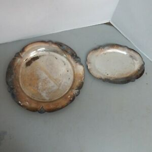 Silver Plated Set Of 2 Serving Dishes Various Sizes