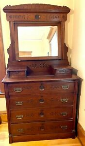 Antique Wood Dresser Chest With Mirror 6 Drawers 4 Generation Owners