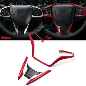 For Honda Civic 2016 2020 Interior Steering Wheel Frame Lip Decor Cover Trim Kit