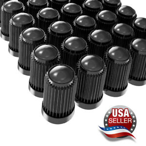 Tire Valve Stem Caps W Rubber Seal For Car Suv Bike Bicycle Motorcycles Black
