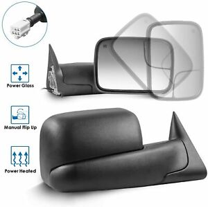Driver passenger Power Heated Towing Mirrors For 98 01 Dodge Ram 1500 2500 3500
