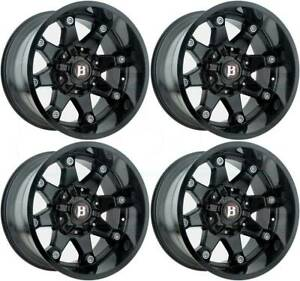 20x12 Ballistic 581 Beast 6x135 6x5 5 44 Black Wheels Rims Set 4