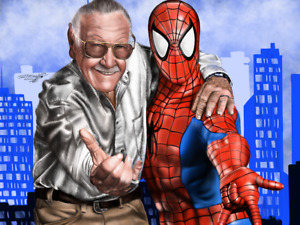 Stan Lee with Spider man Statue drawing Limited edition prints signed by artist $75.00