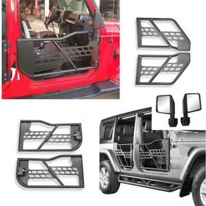 For Jeep Wrangler Jk 4dr 2007 2017 Carbon Steel Half Tube Door With Mirrors 6pcs