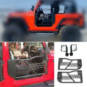 For Jeep Wrangler Jk 2dr 2007 2017 Carbon Steel Half Tube Door With Mirrors 4pcs