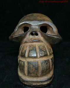 China Antique Hongshan Culture Old Jade Stone Carving Human Skeleton Head Statue