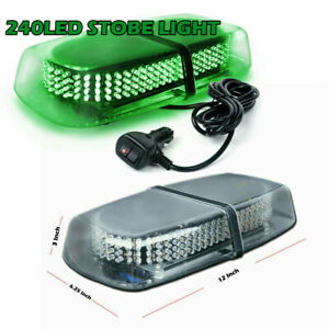 240 Led Green Hazard Magnet Strobe Flashing Light Warn Traffic Advisor Car Truck