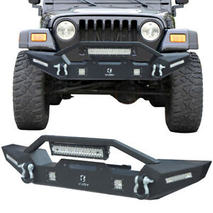 Vijay New Black Front Bumper For 87 06 Jeep Wrangler Tj yj With Winch Plate