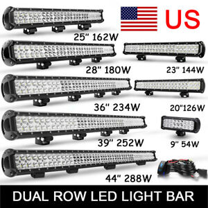 9 20 23 25 28 36 39 44 In Dual Row Led Light Bar Spot Flood Combo Beam Offroad