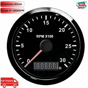 85mm 3000 Rpm Tachometer Engine Tacho Gauge With Lcd Hour Meter For Marine Boats