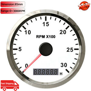 85mm Boat Tachometer Tacho Gauge 0 3000rpm With Lcd Hour Meter For Motorcycle