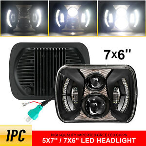 Black H5054 H6054 7x6 5x7 Led Headlight For Jeep Wrangler Yj Cherokee Xj Ford