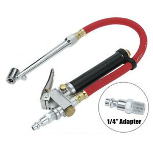 Car Tire Inflator With Pressure Gauge Dual Head Chuck Air Compressor Tools