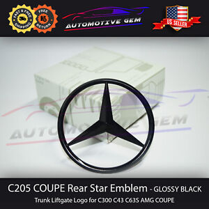 C63s Coupe Amg Trunk Star Emblem Gloss Black Rear Logo Badge Mercedes C300 C205
