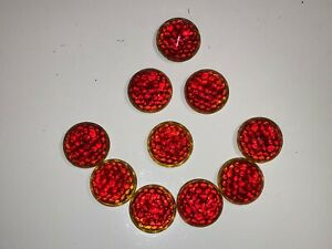Vintage 10 Lot Red Glass Reflectors License Plate Topper Tail Light Faceted Old