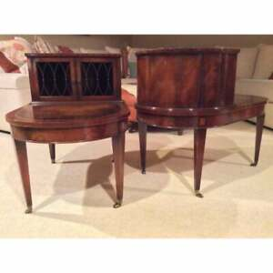 Antique Weiman Empire Neo Classical Flame Burl Mahogany End Tables Night Stands
