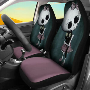 Universal Car Front Seat Covers Breathable Protectors Cartoon Girl Pattern