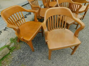 Buy 1 4 Antique 1930s Sikes Quartersawn Oak Office Jury Banker Windsor Arm Chair