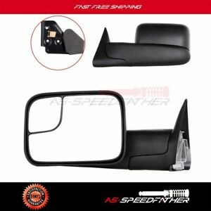 Manual Foldaway Side View Towing Mirrors Pair Set For 1994 2002 Dodge Ram Truck
