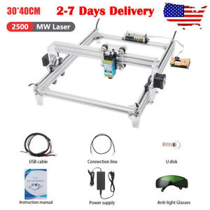 2500mw Cnc Laser Engraver Kits Desktop Engraving Wood Cutting Machine 30x40cm Us