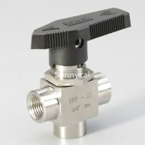 3 Way Ball Valve 1 4 Stainless Steel Npt Fiting Tube L Port Flow Gas Control