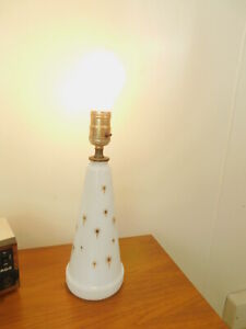 1960s Vintage Eames White Glass Gold Stars Mid Century Modern Table Bedside Lamp