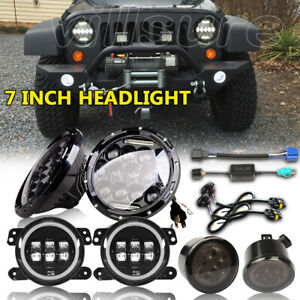 7 Led Headlights 4inch Halo Fog Light turn Lights Fits 2007 17 Jeep Wrangler