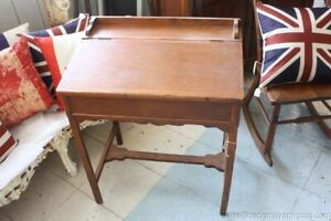 Antique Flip Top Wood Desk Small Child S Americana Primitive Home Decor
