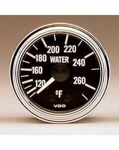 Vdo Series 1 Mechanical Water Temperature Gauge 2 1 16 Dia Black Face 180310