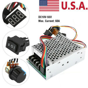 10 55v 60a Adjustable 5000w Dc Motor Speed Controller Pwm Control Soft Start