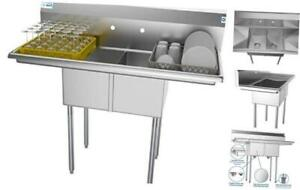2 Compartment Stainless Steel Nsf Commercial Kitchen Prep Utility Sink With 2