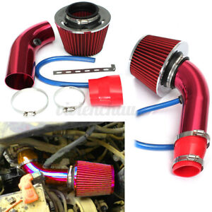 Universal Car Cold Air Intake Filter Red Alumimum Induction Pipe Hose System Red