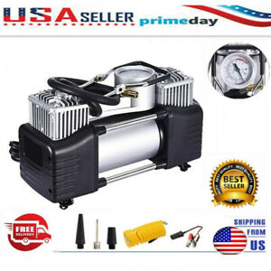 Heavy Duty Portable Car Air Compressor Tire Pump Inflator Auto Double Cylinder