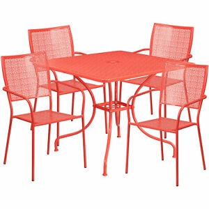 35 1 2in Square Metal Patio Table Set With 4 Square Back Chairs Coral