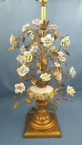 Vintage Toleware Porcelain Rose Lamp 1 Of 2