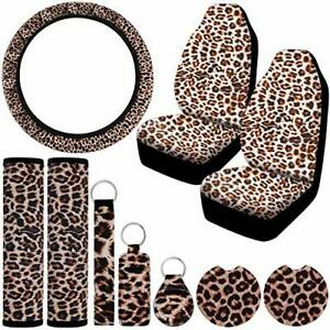 Universal Leopard Print Car Accessories Set Front Seat Covers Steering Wheel