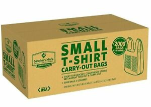 2000 Ct Commercial Grocery Convenience Store Plastic Small T shirt Thank You