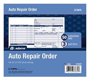 Adams Auto Repair Order Forms 8 5 X 7 44 Inch 3 part Carbonless 50 pack And