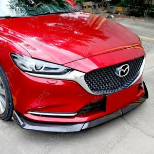 For 2019 2020 Mazda 6 Atenza Carbon Look Front Bumper Body Kit Spoiler Lip 3pcs