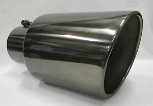 5 Inlet 7 Outlet 15 Long Black Chrome Diesel Exhaust Tip Chevy Duramax