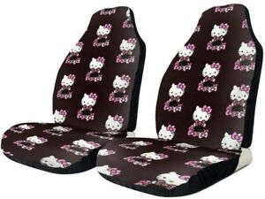 Hello Kitty Bucket Type Car Seat Cover With Headrest Cover Cute 2 Pcs Set Purple