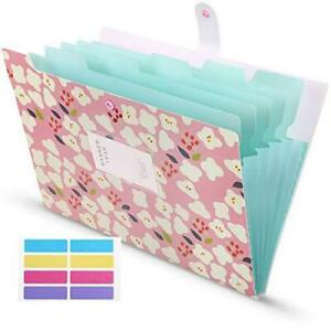 Skydue Accordian File Organizer With 8 Lables Expanding File Folders Floral