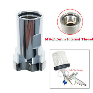 M16x1 5mm Internal Thread Spray Gun Connector Copper Silver For Pps Cup Adapter