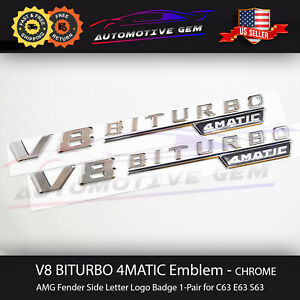 V8 Biturbo 4matic Fender Amg Emblem Chrome Logo Badge Mercedes Oem C63 E63 S63