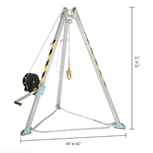 Falltech 7507 Confined Space Tripod Kit Adjustable To 55 To 91 W 60 Winch