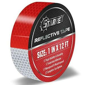 Starrey Reflective Tape Red White 1 In X 12 Ft Waterproof Self Adhesive Trailer