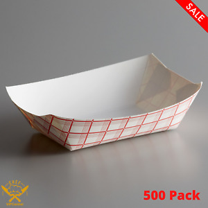 500 Pack 3 Lb Red Check Paper Food Tray Disposable Take out Container Durable