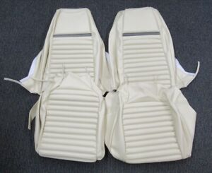 1969 Mustang Mach 1 New Tmi Deluxe White W Gray Strip Front Seat Upholstery